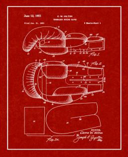Thumbless Boxing Glove Patent Print