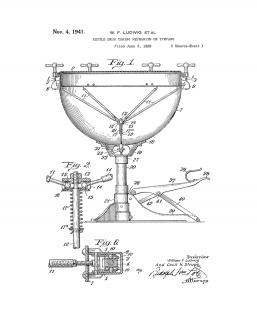Kettle Drum Tuning Mechanism Or Tympano Patent Print