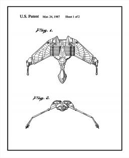 Star Trek Klingon Bird-of-Prey Patent Print