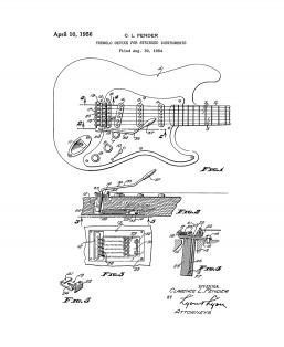 Clarence Fender Stratocaster Patent Print