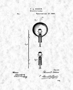 Thomas Edison Light Bulb Patent Print