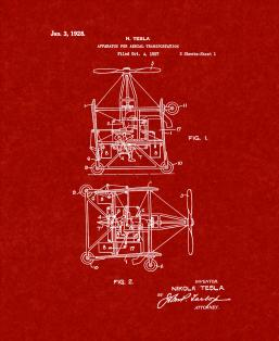 Tesla Apparatus For Aerial Transportation Patent Print