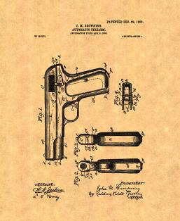Colt Model 1903 Pocket Hammerless Automatic Pistol Patent Print
