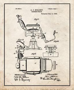 Barber's Chair Patent Print