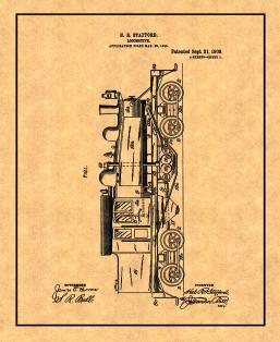 Locomotive Train Patent Print