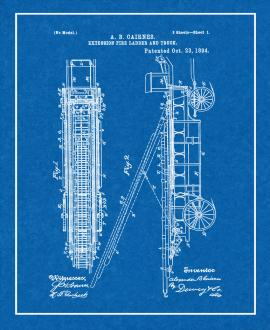 Cairnes Extension Fire-ladder And Truck Patent Print