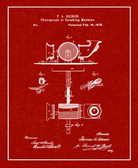 Thomas Edison Phonograph Or Speaking Machine Patent Print
