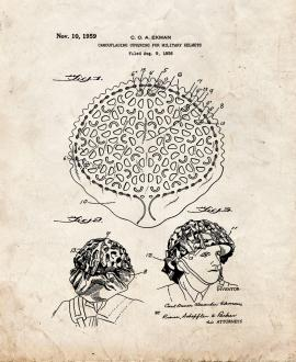 Camouflaging Covering Military Helmets Patent Print