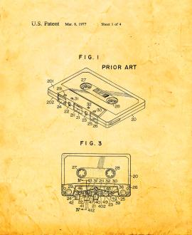 Cassette Tape Recorder With Tape Pad Patent Print