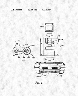 Nintendo Video Game Controller Patent Print
