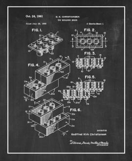 Lego Toy Building Block Patent Print