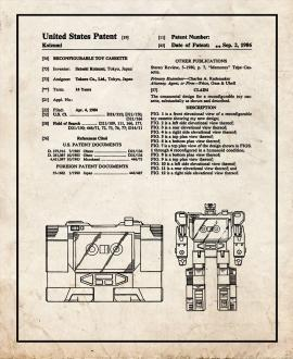 Transformers Soundwave Patent Print