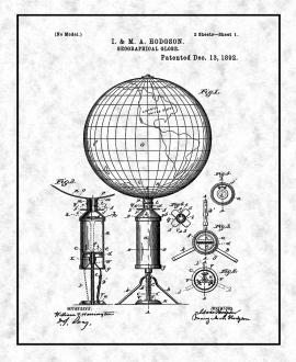 Geographical Globe Patent Print