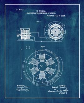 Tesla Electrical Transmission of Power Patent Print
