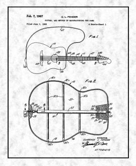 Clarence Fender Guitar Patent Print
