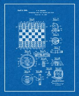 Convertible Chess and Checker Game Piece Patent Print