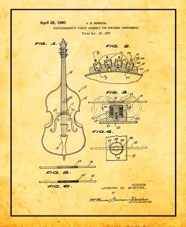 Electromagnetic Pickup Assembly For Stringed Instruments Patent Print