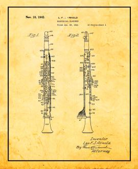 Electrical Clarinet Patent Print