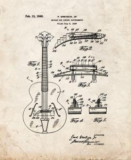Bridge for String Instruments Patent Print