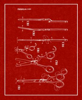 Hair Cutting Scissors Patent Print