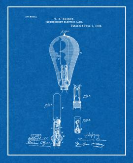 Edison Light Bulb Patent Print