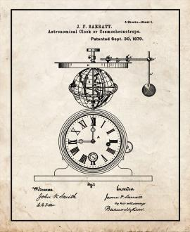 Astronomical Clock Or Cosmochronotrope Patent Print
