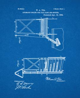 Automatic Incline Pool-Ball Rack And Spotter Patent Print