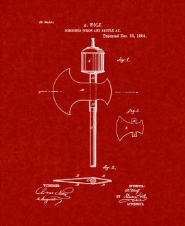 Combined Torch And Battle Ax Patent Print