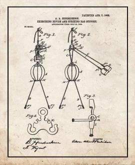 Exercising Device and Striking-bag Support Patent Print