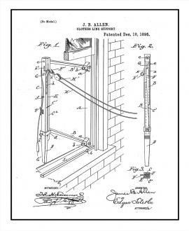 Clothesline Support Patent Print