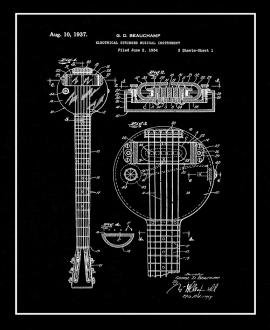 Electrical Stringed Musical Instrument Patent Print