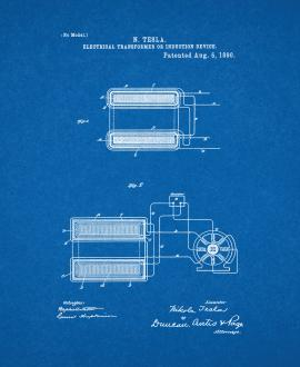 Tesla Electrical Transformer Or Induction Device Patent Print