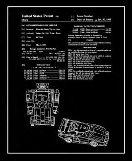 Transformers Reconfigurable Toy Vehicle Patent Print
