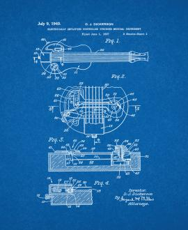 Electrically Amplified Controlled Stringed Musical Instrument Patent Print