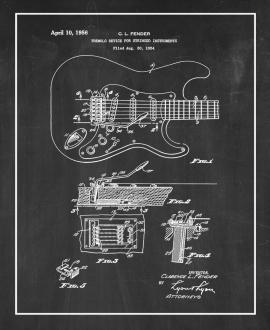 Clarence Fender Tremolo Device For Stringed Instruments Patent Print