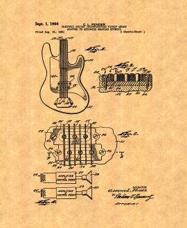Clarence Fender Electric Guitar Patent Print