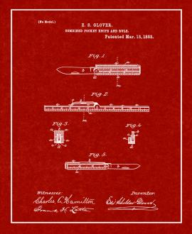 Combined Pocket Knife And Rule Patent Print