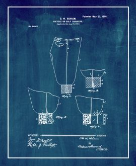 Bicycle Or Golf Trousers Patent Print