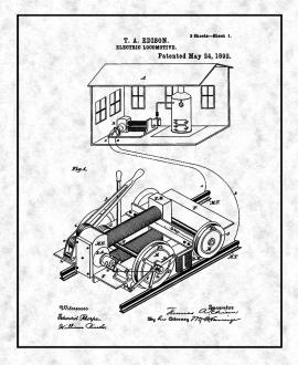 Thomas Edison Electric Locomotive Patent Print