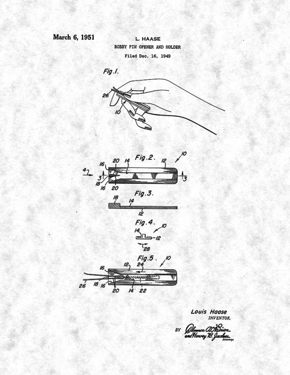 Bobby Pin Opener and Holder Patent Print Poster Item#14486: Frame a ...