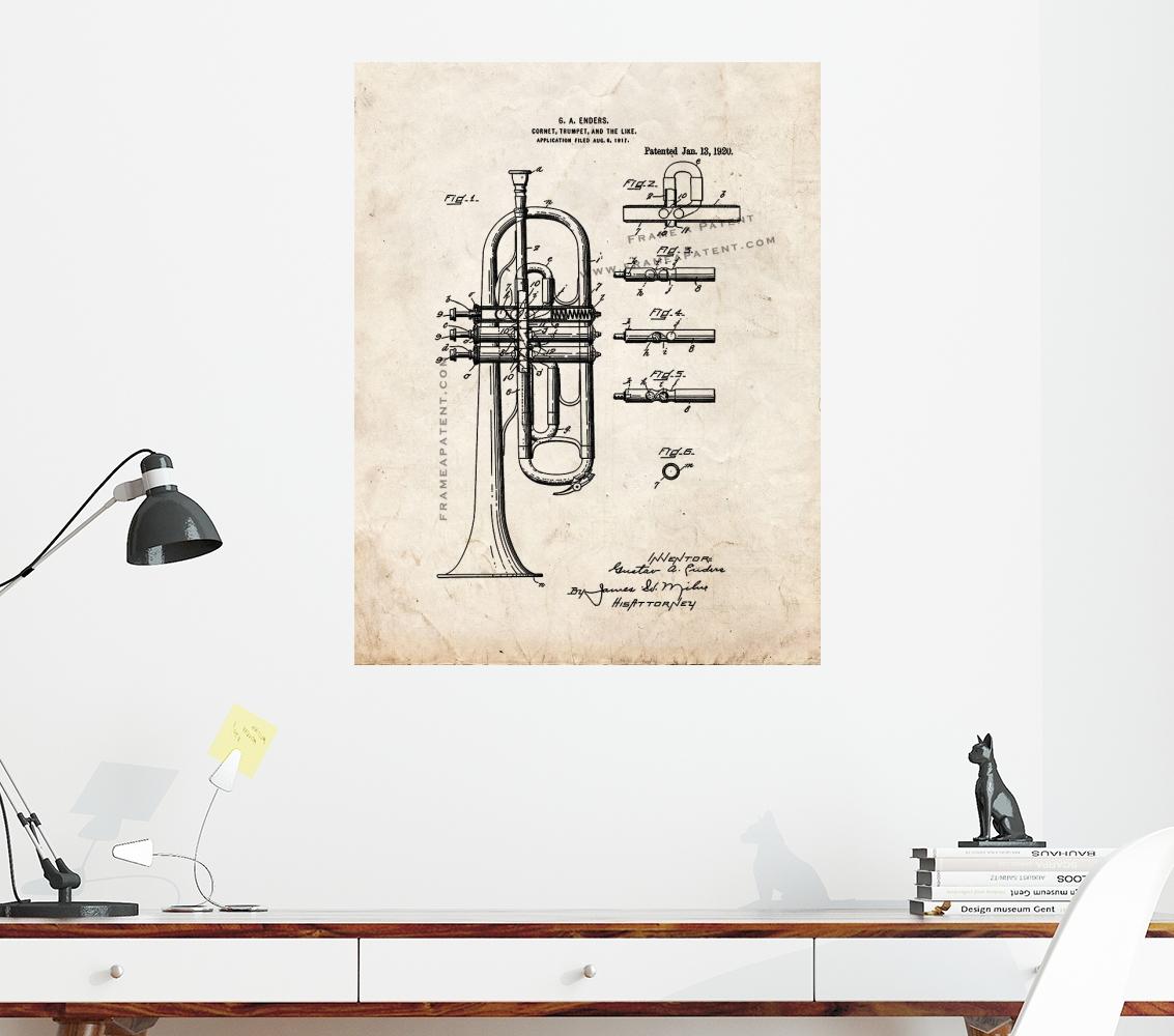 Trompete Ou Corneta visual Antigo impressão Patente