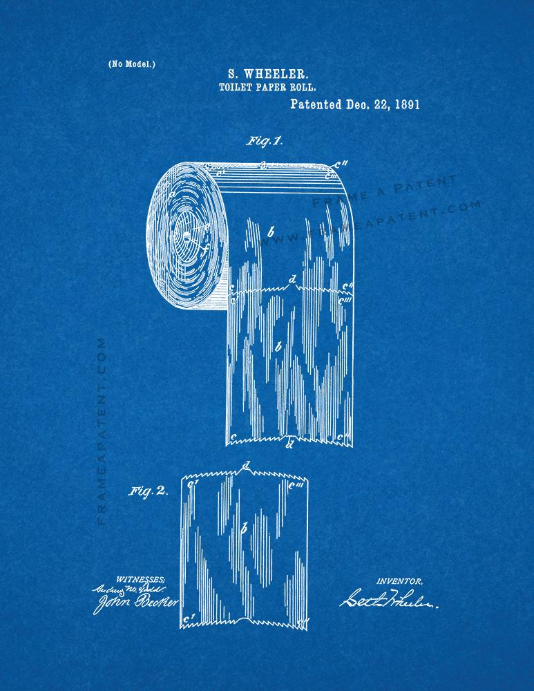 Toilet paper roll patent print blueprint ebay toilet paper roll patent print poster blueprint malvernweather Choice Image