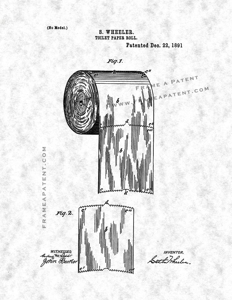 Vintage Patent Art Print 1891 Toilet Paper Roll Choice of 1 of 4 BG/'s on 8x10