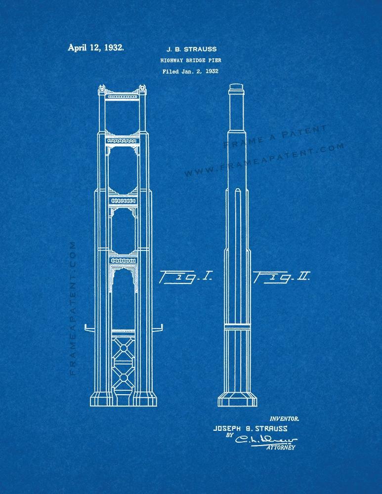 Golden Gate Bridge Patent Print Blueprint