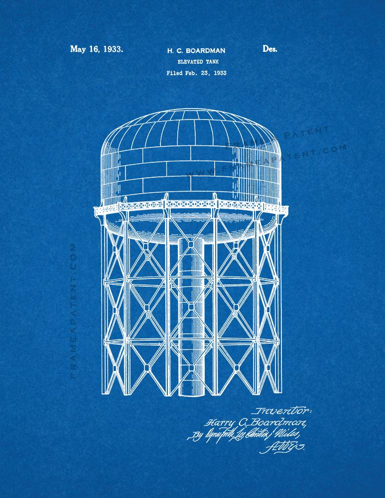 Elevated Water Tank Patent Print - Blueprint (5x7)