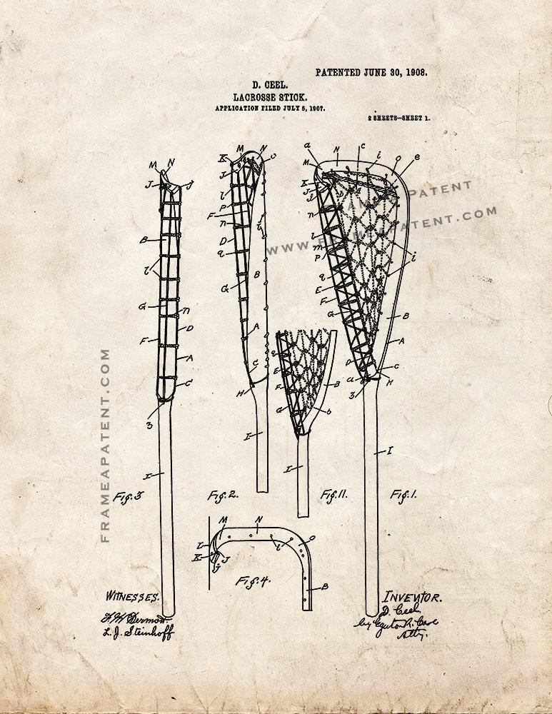 Lacrosse Stick Patent Print Old Look