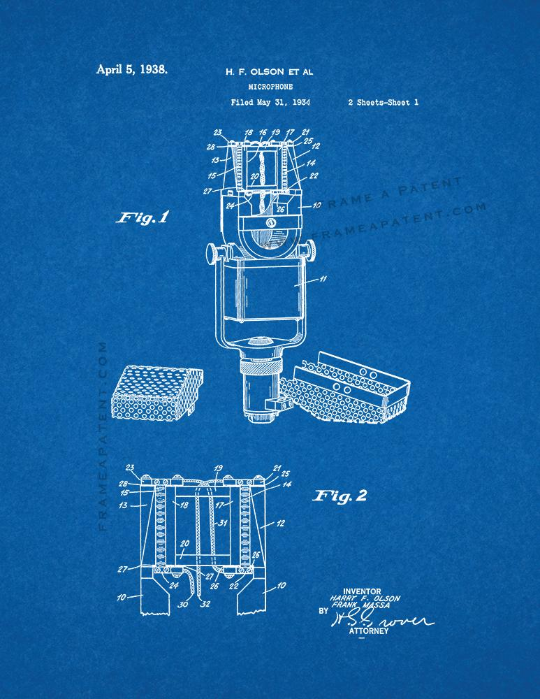 Blueprint de impresin de patente de impresin de patente de microphone patent print patent print blueprint malvernweather Choice Image