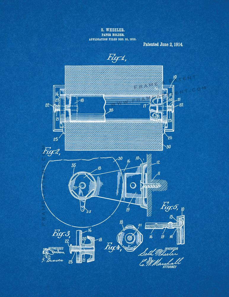 Toilet paper holder patent print blueprint ebay toilet paper holder patent print blueprint malvernweather Choice Image