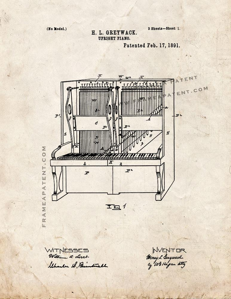 upright piano patent print old look ebay