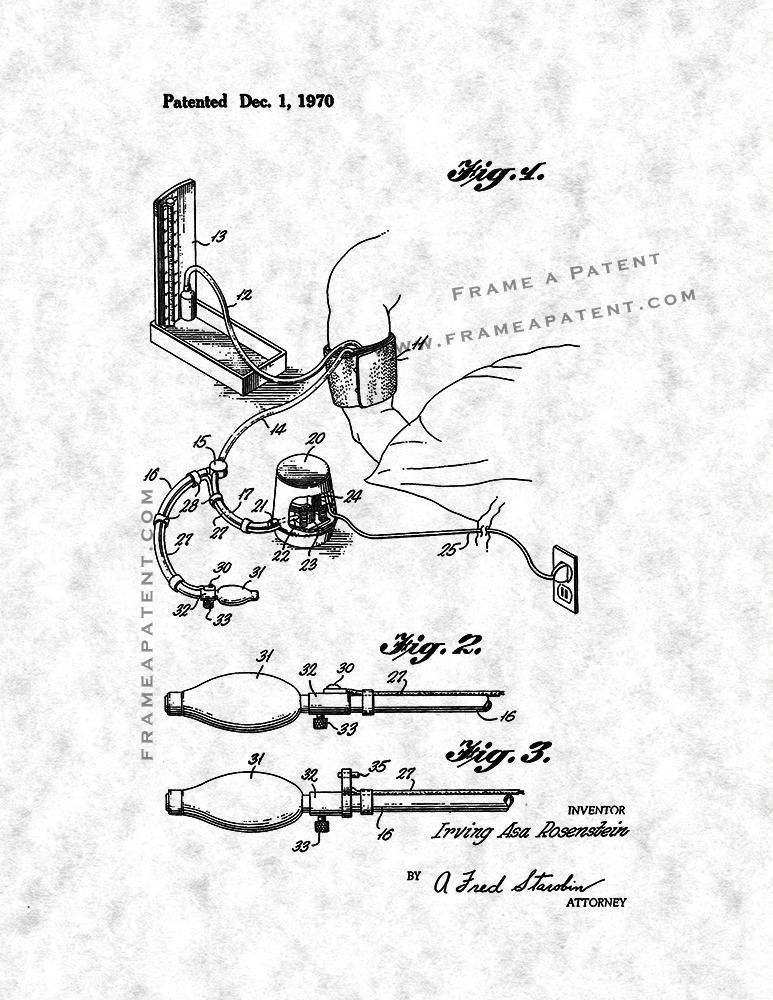 Blood Pressure Cuff Patent Print Poster Item12700 Frame A Patent